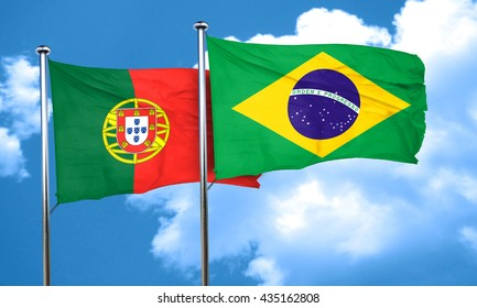 Portugal flag with Brazil flag, 3D rendering