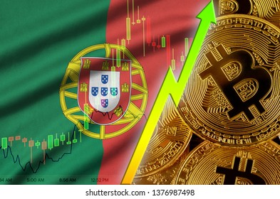 Portugal flag and cryptocurrency growing trend with many golden bitcoins