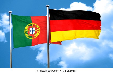 Portugal flag with Germany flag, 3D rendering