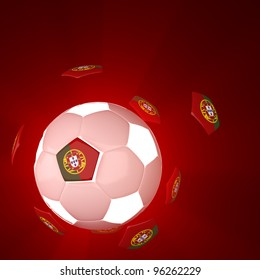 Portugal flag on 3d Football for Euro 2012 Group B