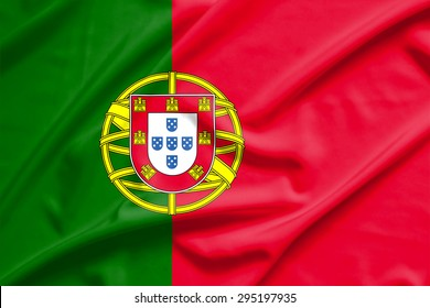 portugal flag on soft and smooth silk texture