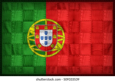 Portugal flag pattern on synthetic leather texture, 3d illustration style