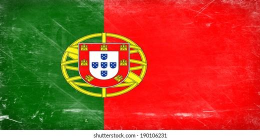 Portugal flag. Shabby vintage flag in grunge style.