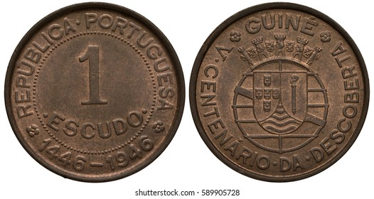 Portugal Guinea 1 one escudo 1946, 500th Anniversary of Discovery, face value in circle of beads, dates below, coat of arms,