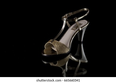 Portugal, June 24, 2017: Moda Jovem Classic Sandal. Moda Jovem Portuguese Company. Isolated on Black, Studio.