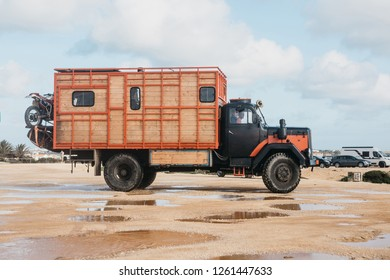 Portugal, Lagos, 12 April 2018: People travel in a truck with a motor home. Car for traveling. The photo was taken on the southern coast of Portugal.
