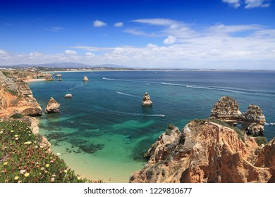 Portugal landscape - Atlantic coast in Algarve region. Lagos area.
