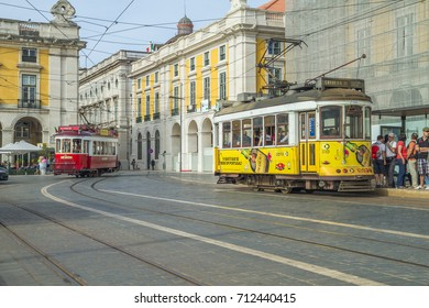 Portugal, Lisabon, urban city, houses, rails, train, peoples. 2014
