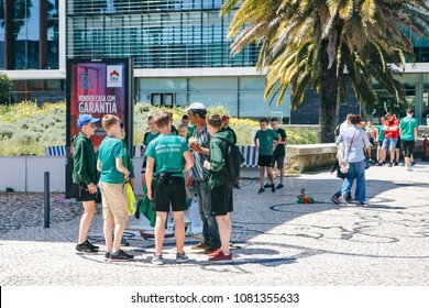 Portugal, Lisbon 29 april 2018: pupils at street in sports school uniform.