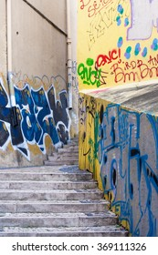 Portugal, Lisbon - August 03, 2014 : Amazing graffiti street art.