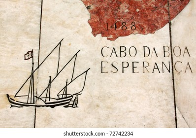 """Portugal Lisbon Belem Detail of huge wind rose laid in marble depicting the Portuguese discovery expeditions -  caravel """"caravela"""" passing the Cape of Good Hope in South Africa"""