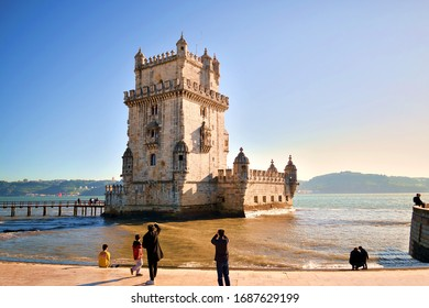 Portugal, Lisbon, December 2019 view of the Belem tower in Lisbon. It is a fortified tower declared a UNESCO World Heritage Site and being the symbol of the city it is highly appreciated by tourists