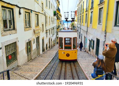 Portugal, Lisbon, December 2019 view of the famous and typical Elevador Da Bica, a characteristic funicular in operation in the historic center of Lisbon