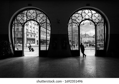 Portugal, Lisbon - March 2015. Entrance to the Rossio train station building.