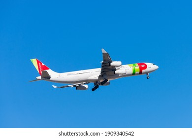 Portugal, Lisbon, October 09, 2018: Airplane of TAP PORTUGAL in blue sky.