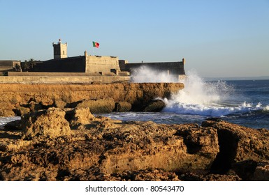 Portugal Lisbon's Sunshine Coast Cascais Saint Julian Fort 'Forte Sao Juliao da Barra' viewed from Carcavelos beach