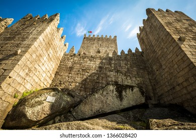 Guimarães, Portugal - March 27th, 2018: Guimarães castle in the city of Guimarães from the outside