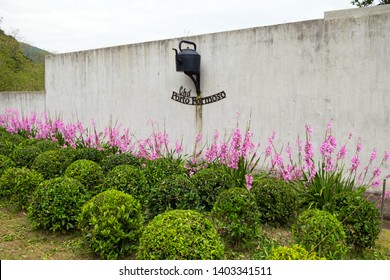 Portugal - May 15, 2019: Logo tea plantation in Porto Formoso on the north coast of the island of Sao Miguel in Azores.