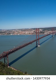 Portugal, may 2019: The 25 April bridge (Ponte 25 de Abril) is a steel suspension bridge located in Lisbon, crossing the Targus river. It is one of the most famous landmarks of the region.