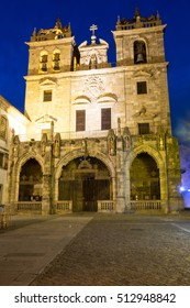 Portugal, Minho Province, Braga. Urban area extends from the Cavado River to the Este River. In Roman times, known as Bracara Augusta, province of Gallaecia. Se Cathedral at night.