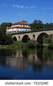 Portugal, Minho Region, Ponte da Barca. Roman bridge over the Lima River - Rio Lima.