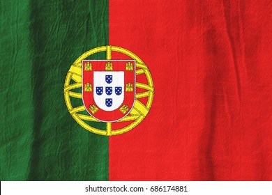 Portugal national flag from fabric for graphic design.