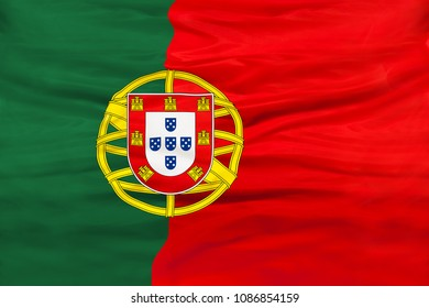 Portugal national flag with waving fabric