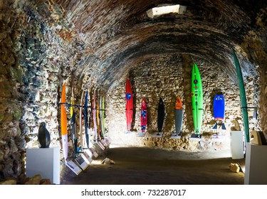 PORTUGAL, Nazare - September 27, 2017: Surfers museum inside. Nazare is placed in a Guinness book of records for the biggest world's largest wave ever ridden.