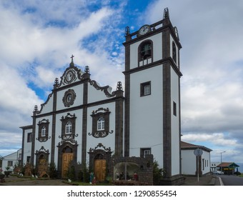 Portugal, Nordeste, Sao Miguel, Azores, December 20, 2018: The main church of Nordeste on the island of Sao Miguel with christmas decoration and creche in the Azores, Portugal.