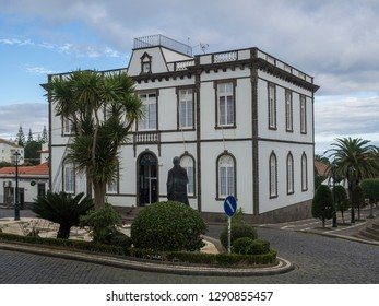 Portugal, Nordeste, Sao Miguel, Azores, December 20, 2018: The main square of Nordeste village with white town hall building on the island of Sao Miguel, Azores, Portugal.