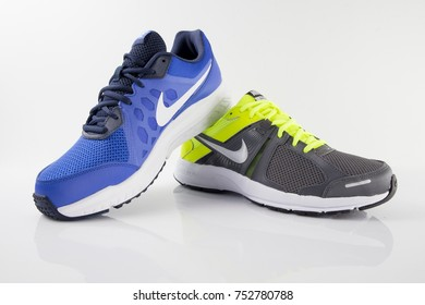 Portugal, November 11, 2017:Nike Sneaker Soccer. Nike, Multinational company. Isolated on White. Product shots.