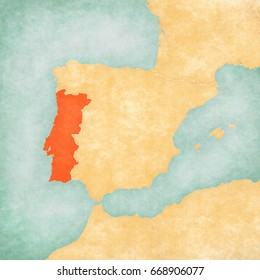 Portugal on the map of Iberian Peninsula in soft grunge and vintage style on old paper.