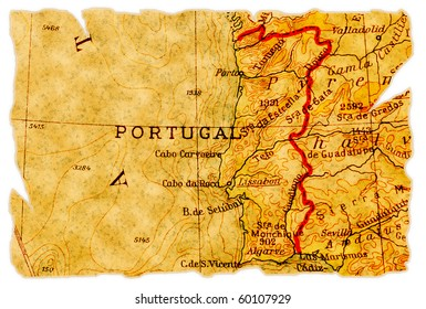 Portugal on an old torn map from 1949, isolated. Part of the old map series.