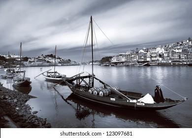 Portugal. Porto, Douro river and old ships