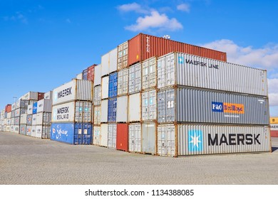 PORTUGAL, PORTO- FEBRUARY 05, 2013: Container boxes, Cargo freight ship