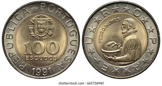 Portugal Portuguese bimetallic coin 100 one hundred escudo 1991, arms above value in central circle, Subject Pedro Nunes, man holding globe,