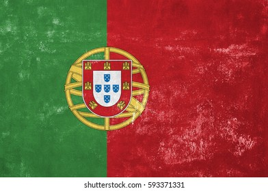 Portugal - Portuguese Flag on Old Grunge Texture Background