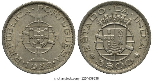 Portugal Portuguese India Indian coin 3 three escudo 1959, shield in front of stylized globe in front of cross, territorial arms, denomination below shield,