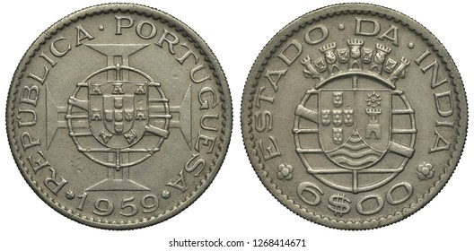 Portugal Portuguese India Indian coin 6 six escudo 1959, shield in front of stylized globe in front of cross, territorial arms, denomination below shield,