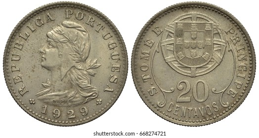 Portugal Portuguese Sao Tome and Principe coin 20 twenty centavo 1929, female head in liberty cap decorated by laurel sprig, coat of arms, shield in front of stylized globe, colonial time,
