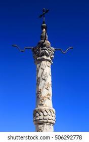 Portugal, Ribatejo region, Santarem, Coruche. The town's 15th-century marble pillory. Restored in 1941.