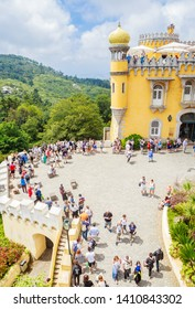 Portugal, Sintra, July 16, 2018: The walkway to the entrance of the Pena Palace, Pedro de Penaferrim, Sintra, Portugal, an UNESCO World Heritage Site.