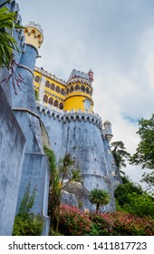 Portugal, Sintra, July 16, 2018: View of the Pena Palace in Sintra National Park, Portugal