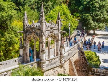 Portugal, Sintra, July 16, 2018: Entrance arch at the Quinta da Regaleira, Sintra, Portugal