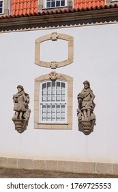 """Guimarães, Portugal - """"Palácio Vila Flor"""" Palace in """"Centro Cultural Vila Flor"""": XVIII century Palace building with Portuguese Kings Statues on the White Façade - Orange Roofs with Windows"""