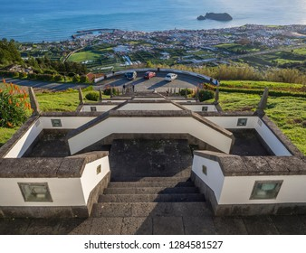 Portugal, VILA FRANCA DO CAMPO, Sao Miguel, Azores, December 20, 2018: view of Vila Franca do Campo town with its famous volcanic islet near the coast from stairs of Marian sanctuary Nossa Senhora da