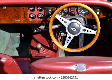 Portugal,Algarve,Armacao 02.12.2018 Vintage car dashboard - oldtimer