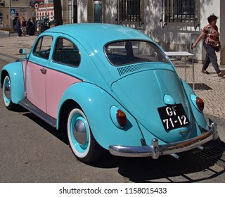 Portugal,Algarve,Loule 03.05.2016 Classic Volkswagen Beetle in blue and pink