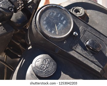Portugal,Algarve,Loule 15.08.2015 Speedometer and tank of a great motorbike