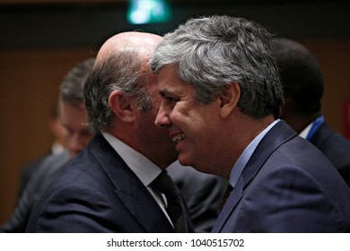 Portugal's Finance Minister Mario Centeno and president of the Eurogroup in Eurogroup finance ministers meeting at the European Council in Brussels, Belgium on Dec. 4, 2017.